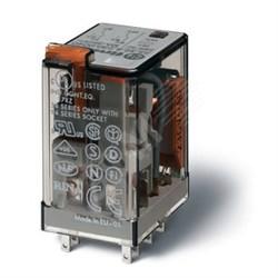 Реле миниатюрное универсальное монтаж в розетку контакты AgNi 2CO 10A блокируемая кнопка Тест+индикатор
