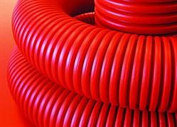 Труба гибкая двустенная для кабельной канализации 63мм, красный, с протяжкой