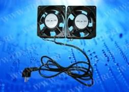 Вентилятор RAL1238S1, рама 120х120х38, подшипник скольжения, 220 В 15 Вт x 2шт, (2 вент с кабелем и вилкой)