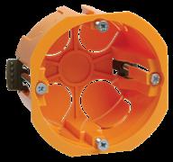 Коробка установочная скрытой установки d65мм глубина 46мм КМ40022 для полых стен (с саморезами, пластиковые лапки) ИЭК