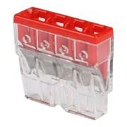 Клеммы wago 2273-204 4  -проводнаяя 4x2.5мм красная/прозрачная