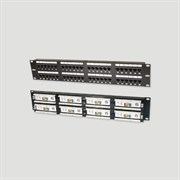 """Eurolan Коммутационная панель категории 5е, FTP, 19"""", 1U, 24хRJ45, 568A/В, экранированная, черная"""