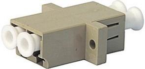 Адаптер проходной LC/PC-LC/PC, MM, duplex, корпус пластиковый, бежевый, белые колпачки